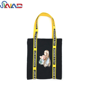 Heavy duty custom printing blank cotton canvas wholesale black canvas shopping bag