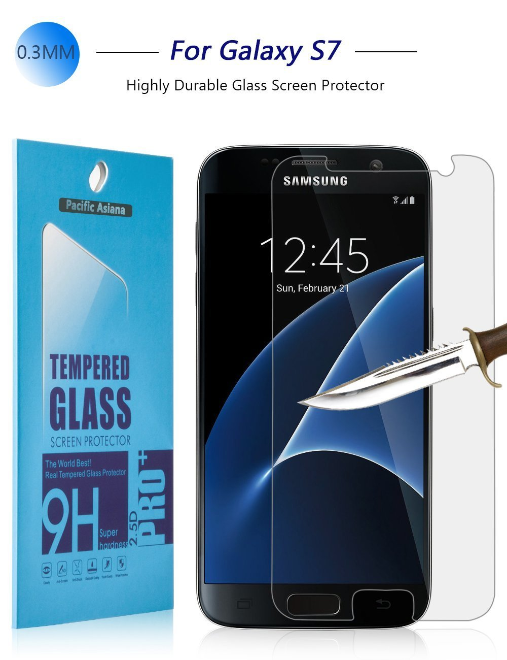 Pacific Asiana 0.3mm Slim HD Anti-scratches Clear Ballistic Tempered Glass Screen Protector for Samsung Galaxy S7, 1 Pack