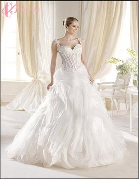 China Custom Made Bridal Luxury Wedding Dress Beach Lace Applique