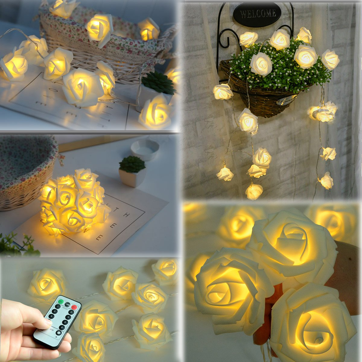 Fairy String Lights Blue Rose Flower 20 LED Battery Operated Decorative Light for Wedding Valentines Day Dreamlike Party Girls Bedroom Patio, Lawn & Garden Outdoor Décor