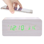 Wholesale Gift Wireless Phone Charger Digital Wooden Table Clock With Calendar