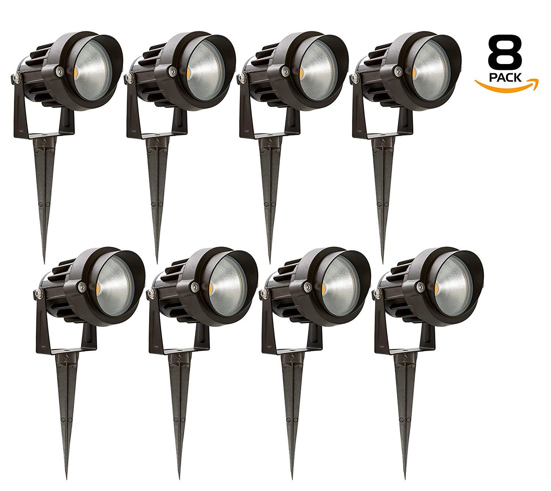 Westgate Waterproof Landscape Light LED Spotlight Adjustable Directional Security Lighting for Deck Yard Garden Pathway - Spike Stand/MR16 Bulb Included (8 Pack, 5000K Cool White)