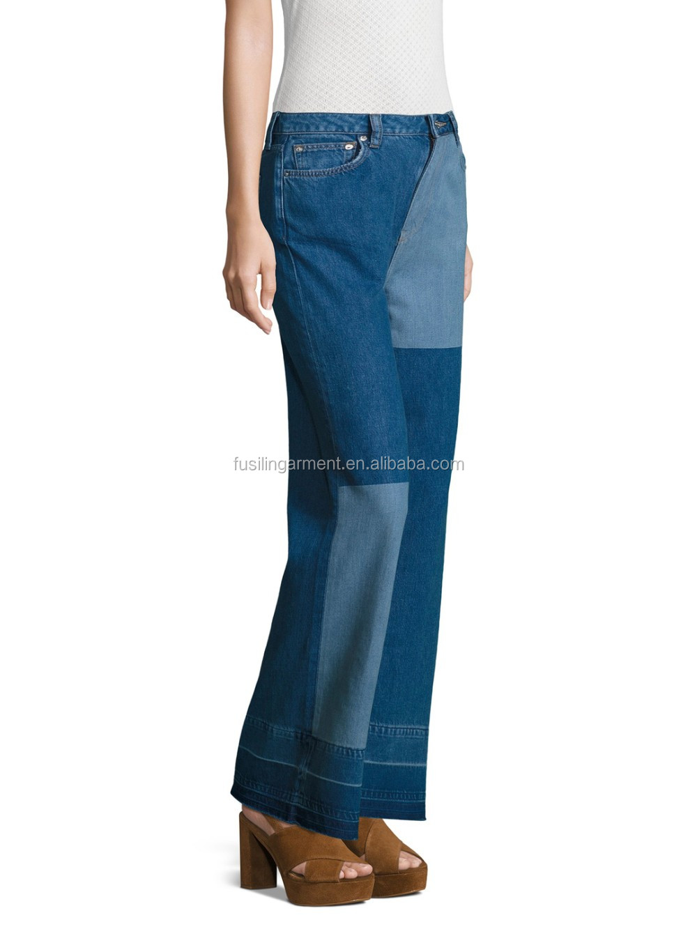 Newest Red Blue Denim Brand Jeans Wide Leg Patchwork Jean
