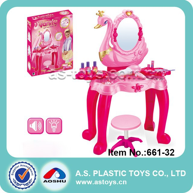 Play At Home Lovely Girlu0027s Pretend Kids Play Dressing Table With Mirror