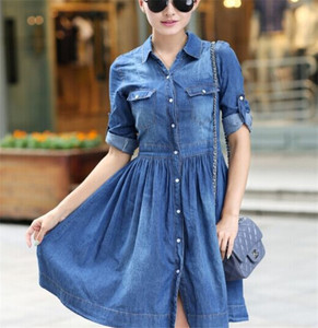 Women's Slim Fit Half Sleeve Pleated Shirt Dress Plus Size Denim Jean Dress