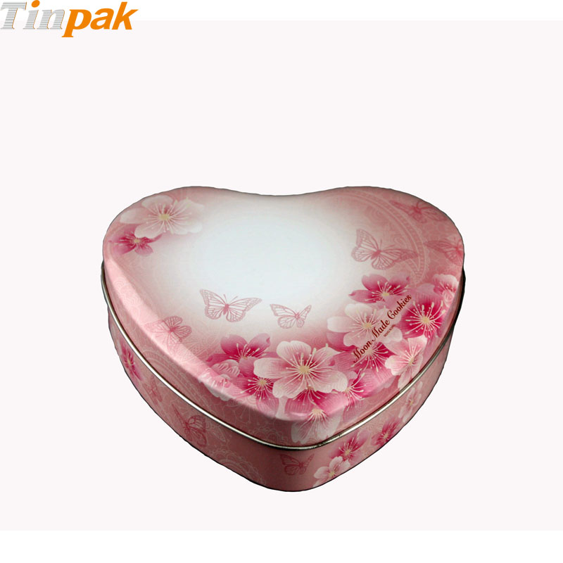 Romantic flower heart shaped gift tin box wedding favors