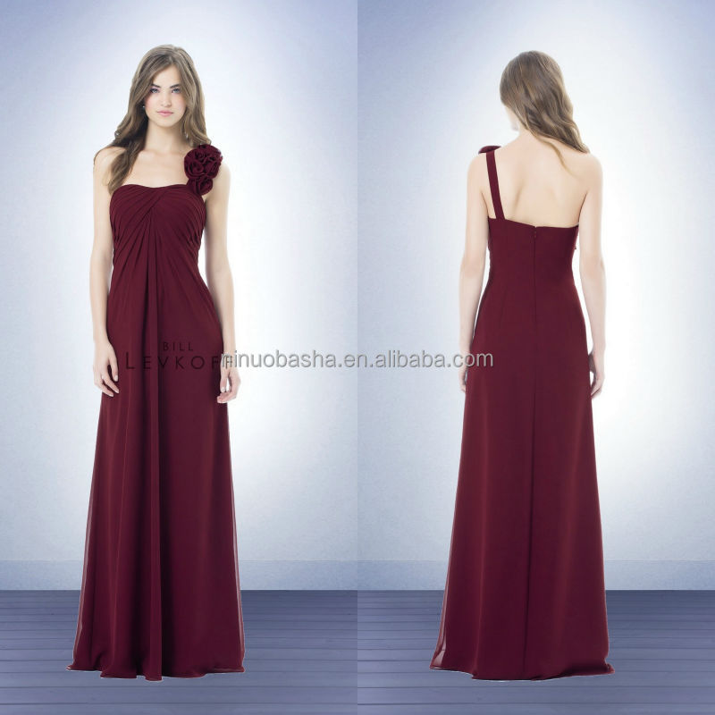 Cheap One-Shoulder Long Wine Chiffon Bridesmaid Dress 2014 Strapless Full-length Flower Pleats Empire Formal Prom Gown NB0751