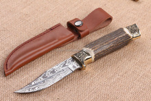 OEM Imported Damascus blade Double copper antlers handle collection knife