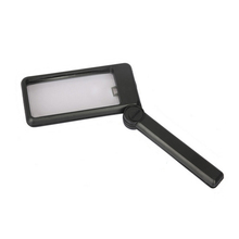 Square shaped handheld magnifying glass 2x 4x folded with LED light magnifying glasses magnifier for reading