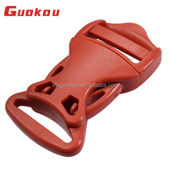 China fashion plastic curved red side quick centre release buckle