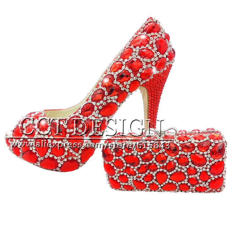 Shoes Woman Red Wedding Shoes Customized Diamond Peep Toe High Heels Platfrom Party Evening Shoes Italian Shoes And Bag Set