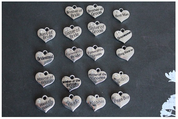 Popular banquet bride and groom charms wholesale metal heart wedding charms for gift