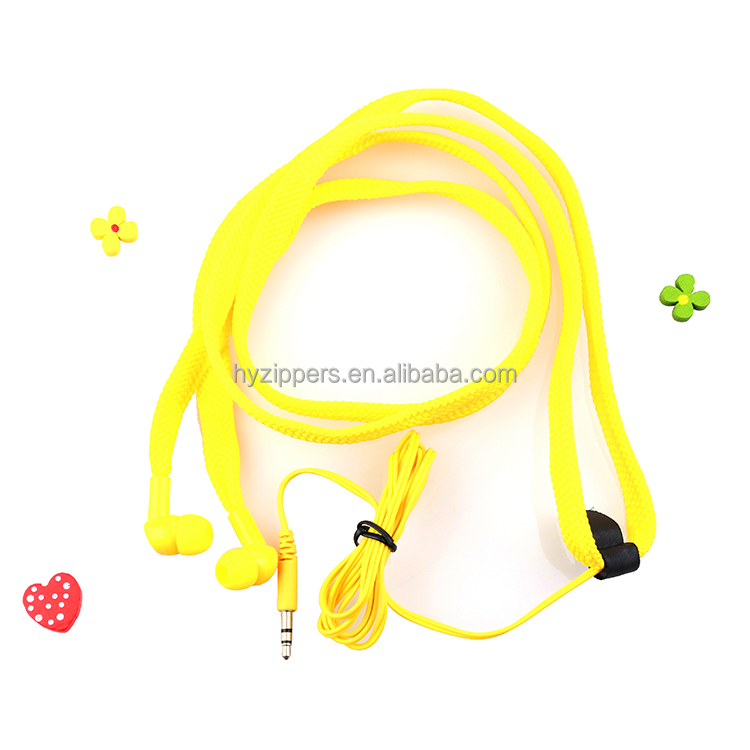 Fashionable alloy metallic or plastic Shoelace earphone 3.5mm headphone jack