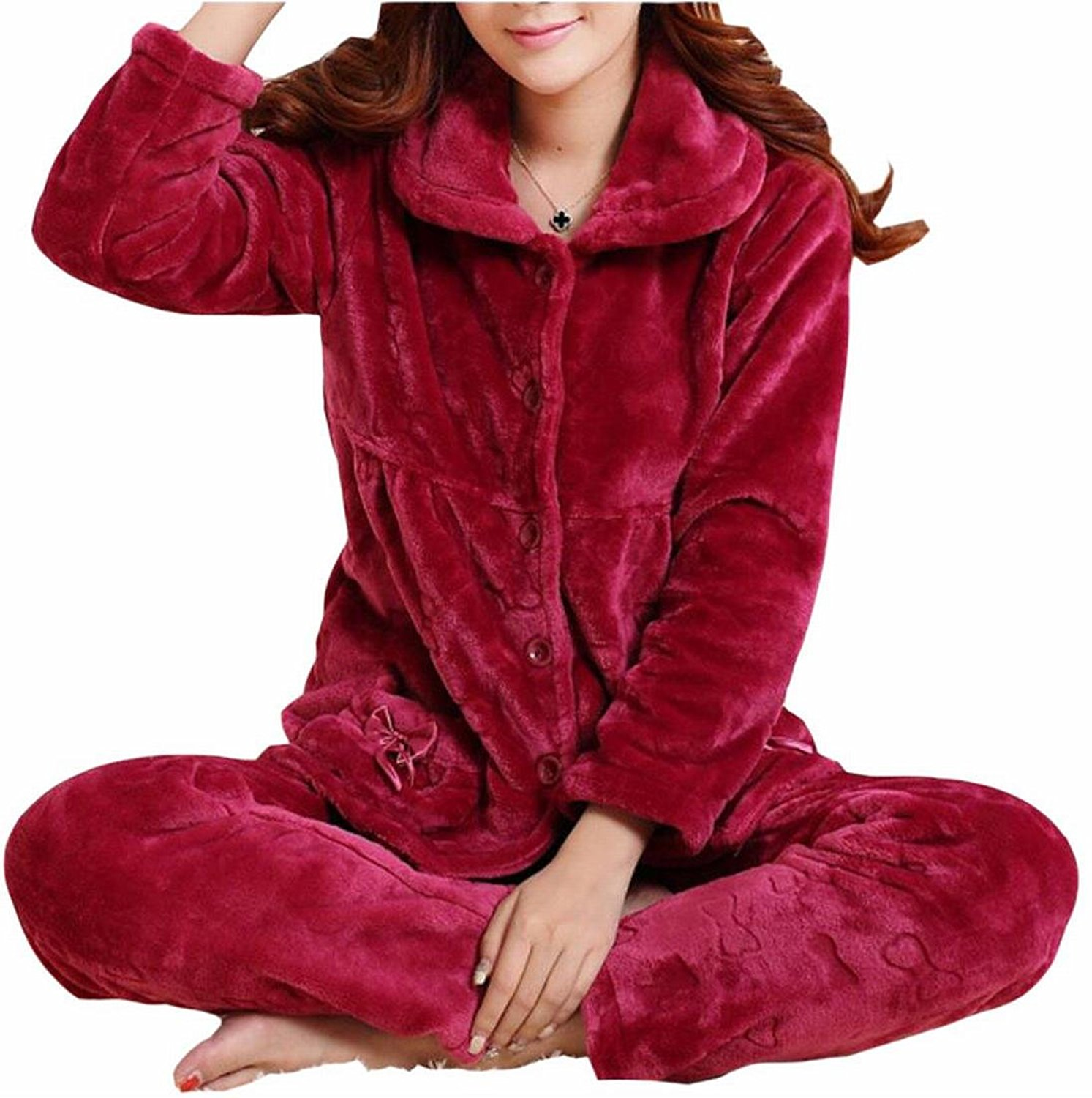 b32ca0ab92 Get Quotations · HTOOHTOOH Womens Fluffy Button-Front Flannel Loungewear  Home Pajamas Sets