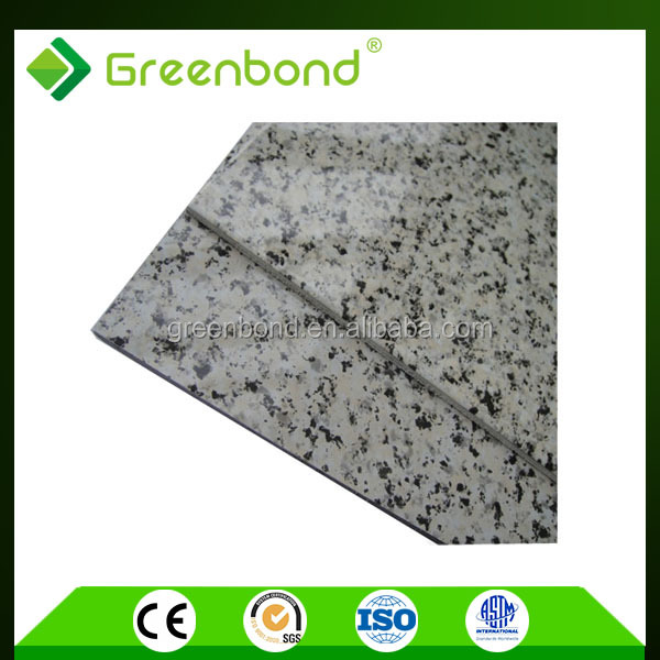 Greenbond wall decorative plastic stone adhesive film aluminum composite panel with 12 years high strength