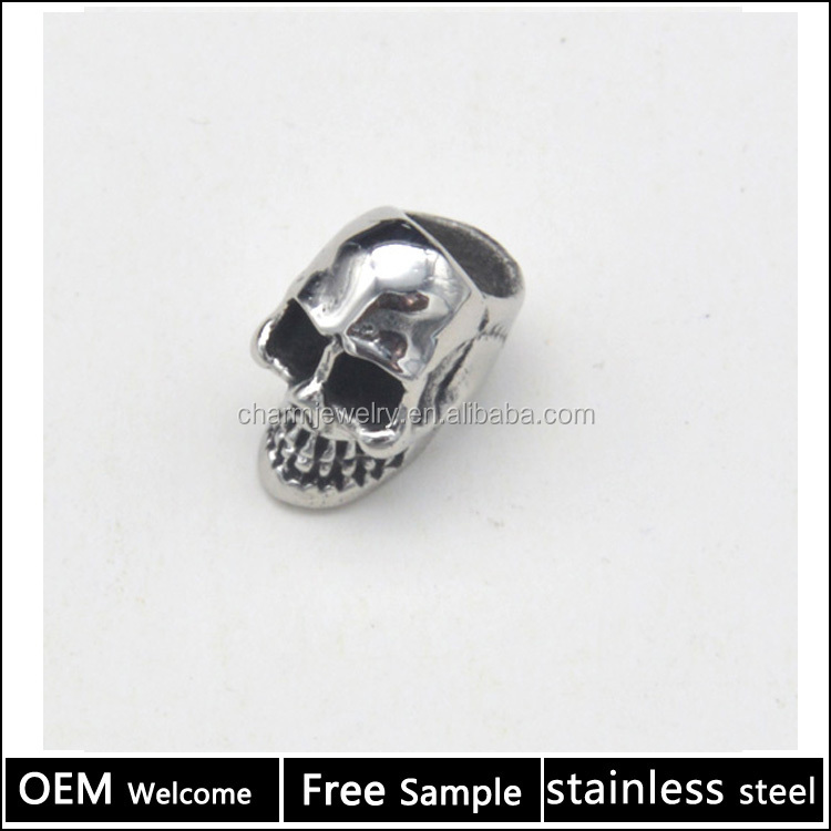 Stainless Steel Jewelry Findings Animal Skull <strong>charm</strong> for Bracelet jewelry making 6mm big hole <strong>charm</strong> BXGZ034