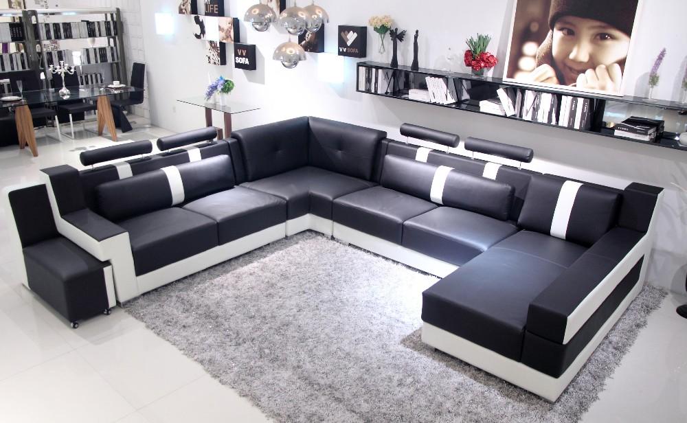 Price Modern Black U Shaped Genuine Leather Round Corner Sofa