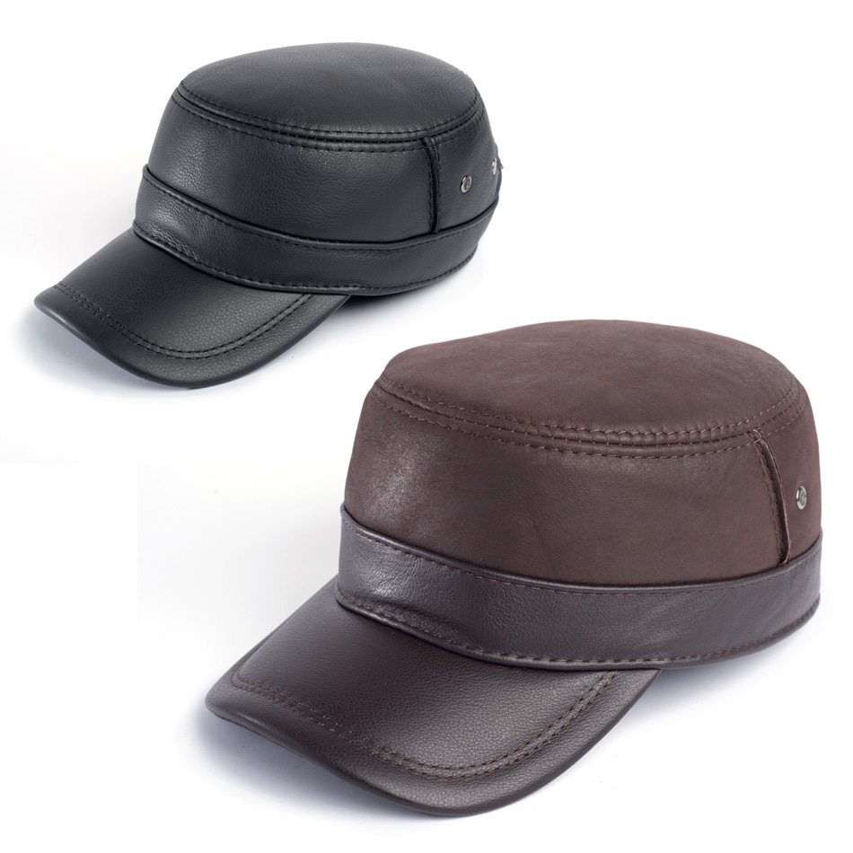 f16b336190e362 Get Quotations · First layer of cowhide military hat cadet cap genuine leather  hat male winter plus cotton thermal
