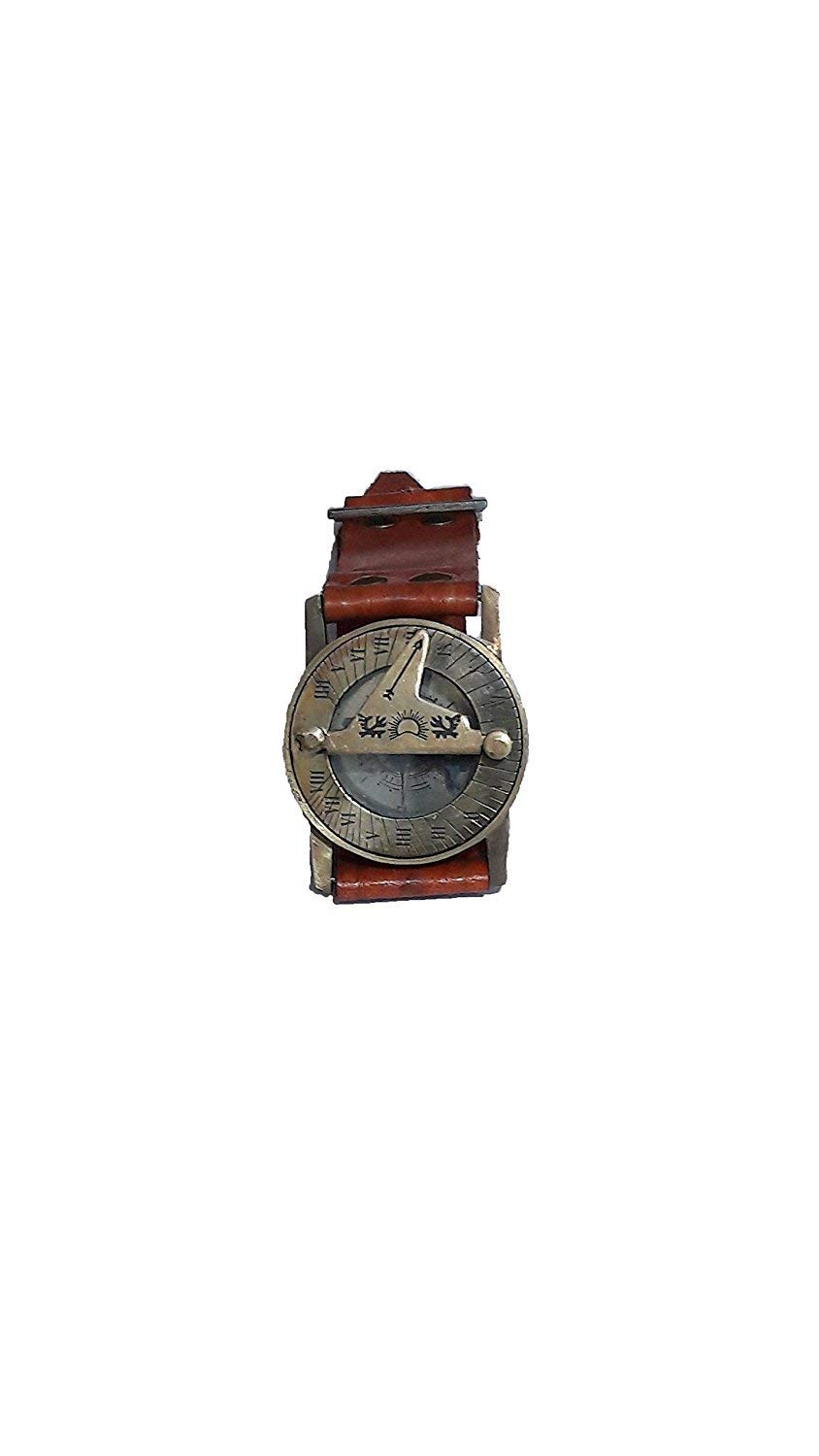 Wrist Brass Compass & Sundial-Watch With Leather Strap Sundial