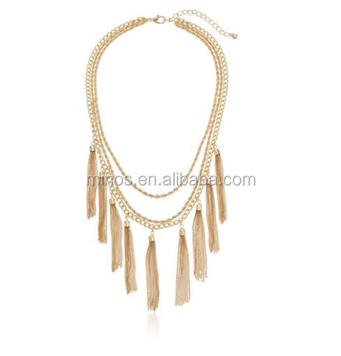 Women Fashion Gold Tassel Fringe Strand Necklaces for Wholesale in Dubai