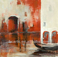 Handpainted Modern abstract palette knife Venice oil painting with simple design by skilled artists for sale