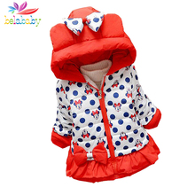 Belababy Baby Girls Winter Cartoon Coat New Cute Children Polka Dot Hooded Jacket Kids Thicken Cotton Outerwear