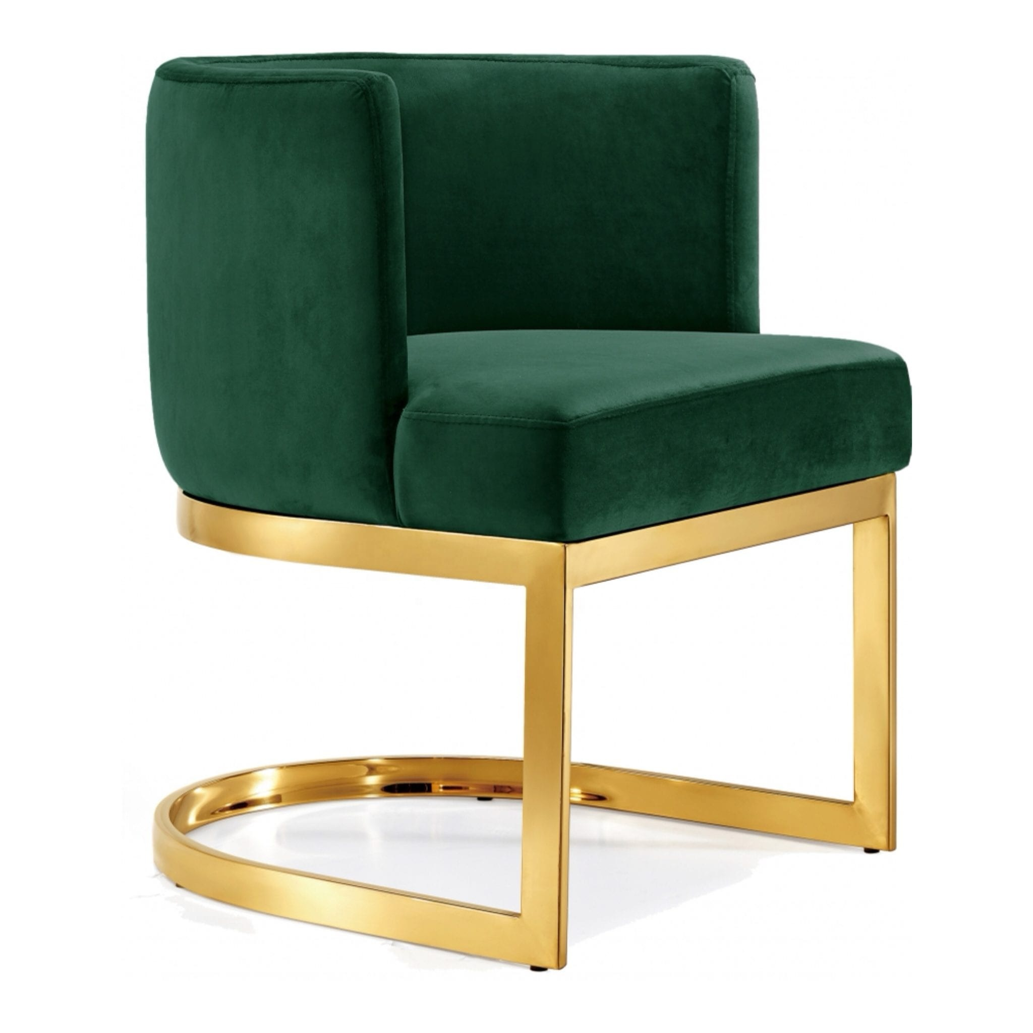 Modern Stainless Steel Upholstered Lounge Armrest Dining Chair In Gold
