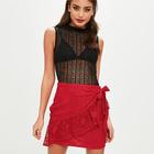 35cd5267924 Women Fashion Floral Lace Tea Asymmetrical Wrap Mini Skirt With Bow HSS6195