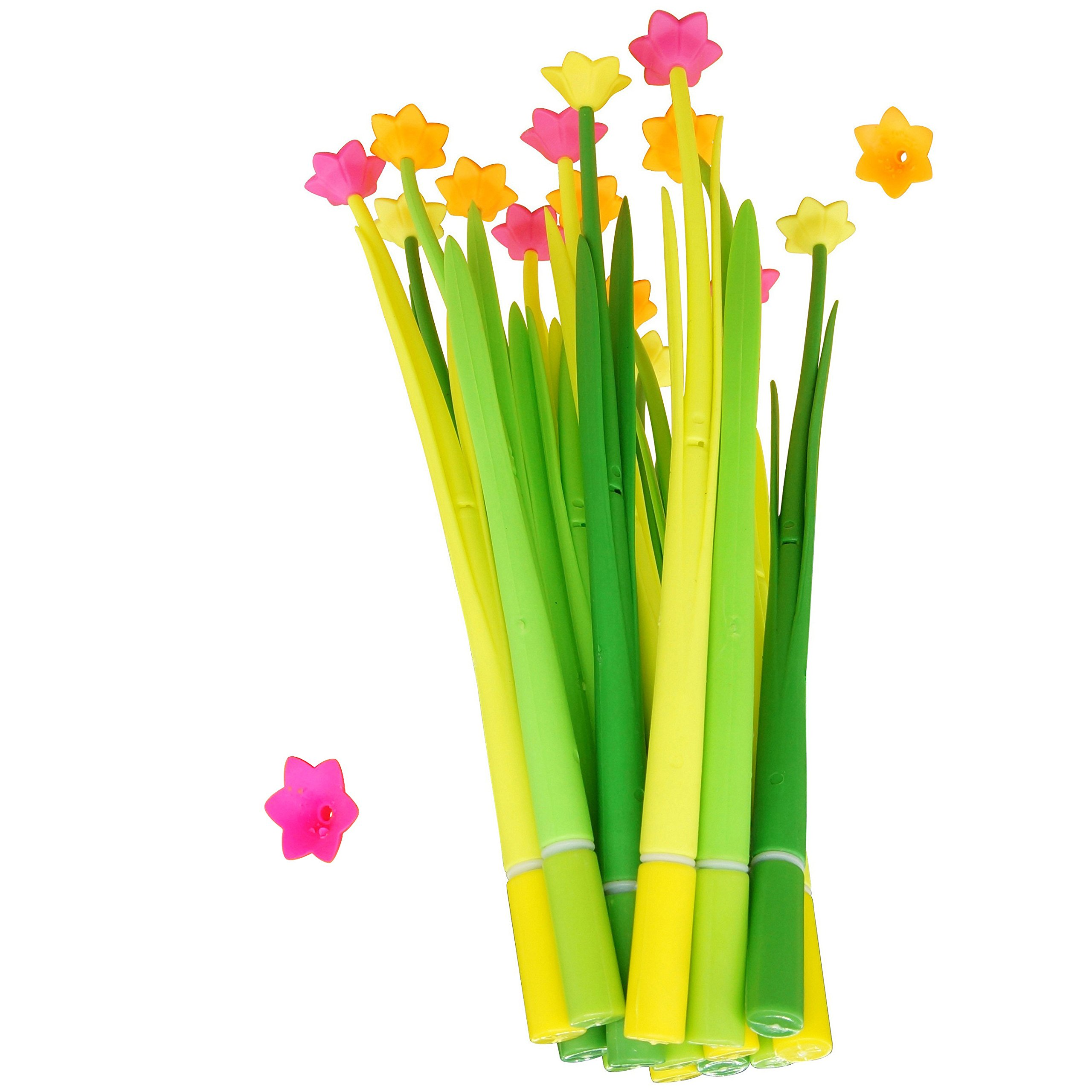 BUOP Narcissus Flower Style Ball-Point Pens, Extra Fine Black Gel Ink Pens, Assorted Color Flower Pens, Creative Stationery Gift, Dozen (12pcs) Box