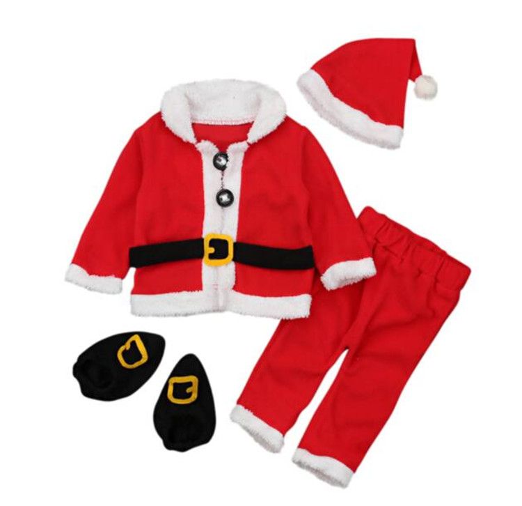 Baby Boy Girls Christmas Santa Claus Costume Top Hat Outfit Clothes Set Pants