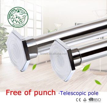 Stainless Steel Wooden Adjustable Shower Curtain Rod