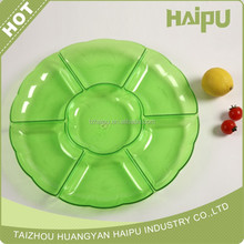 plastic food round compartment tray