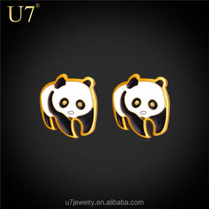 Stainless Steel Panda Stud Earrings 18K Real Gold Plated girl cute Animal earring Clay Bear Jewelry
