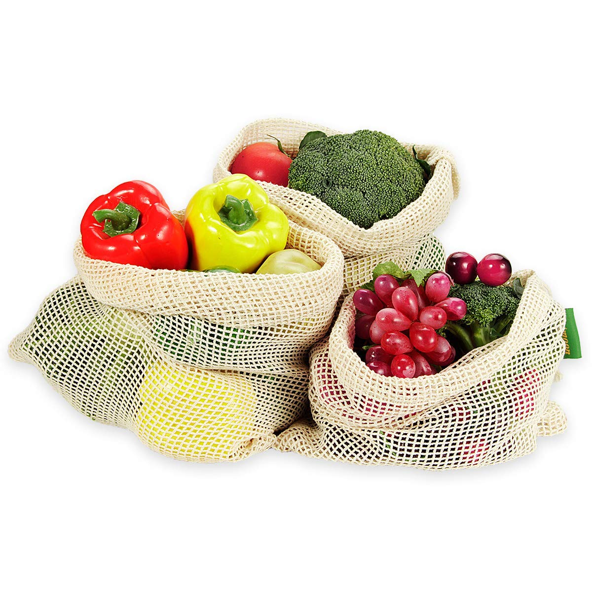 Reusable Mesh Produce Bags mesh bags for fruits and vegetables with GOTS certificate