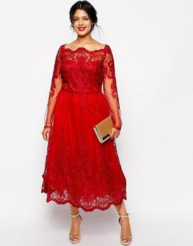 Red Plus Size Mother Of The Bride Dress Tea Length Lace Tulle Party ...