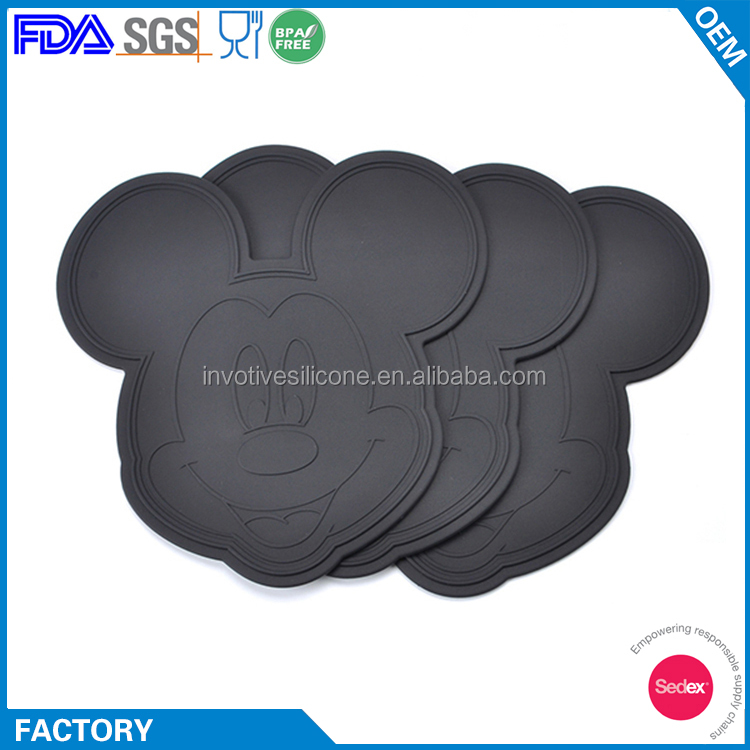 Sedex Supplier Custom Animal Mouse Shape Silicone Children Coaster
