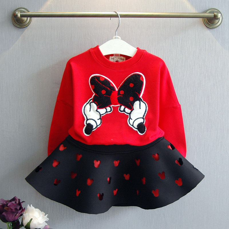 Spring Clothes Set 2PCS Cute Hoodie T-Shirt Skirt Children's Boutique Clothes