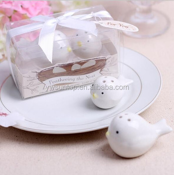 Feathering The Nest Ceramic Love Birds Salt Pepper Shakers Wedding Favors