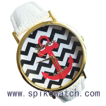 Trendy Anchor Face Geneva Platinum Watch Japanese Movement Buy