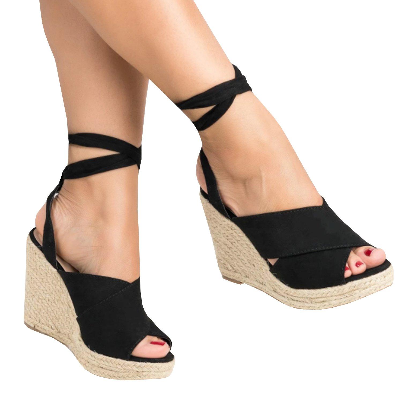 339f82750 Get Quotations · Enjoybuy Womens Espadrille Wedge Peep Toe Sandals Summer  Ankle Tie Up Platform Shoes High Heel Sandal