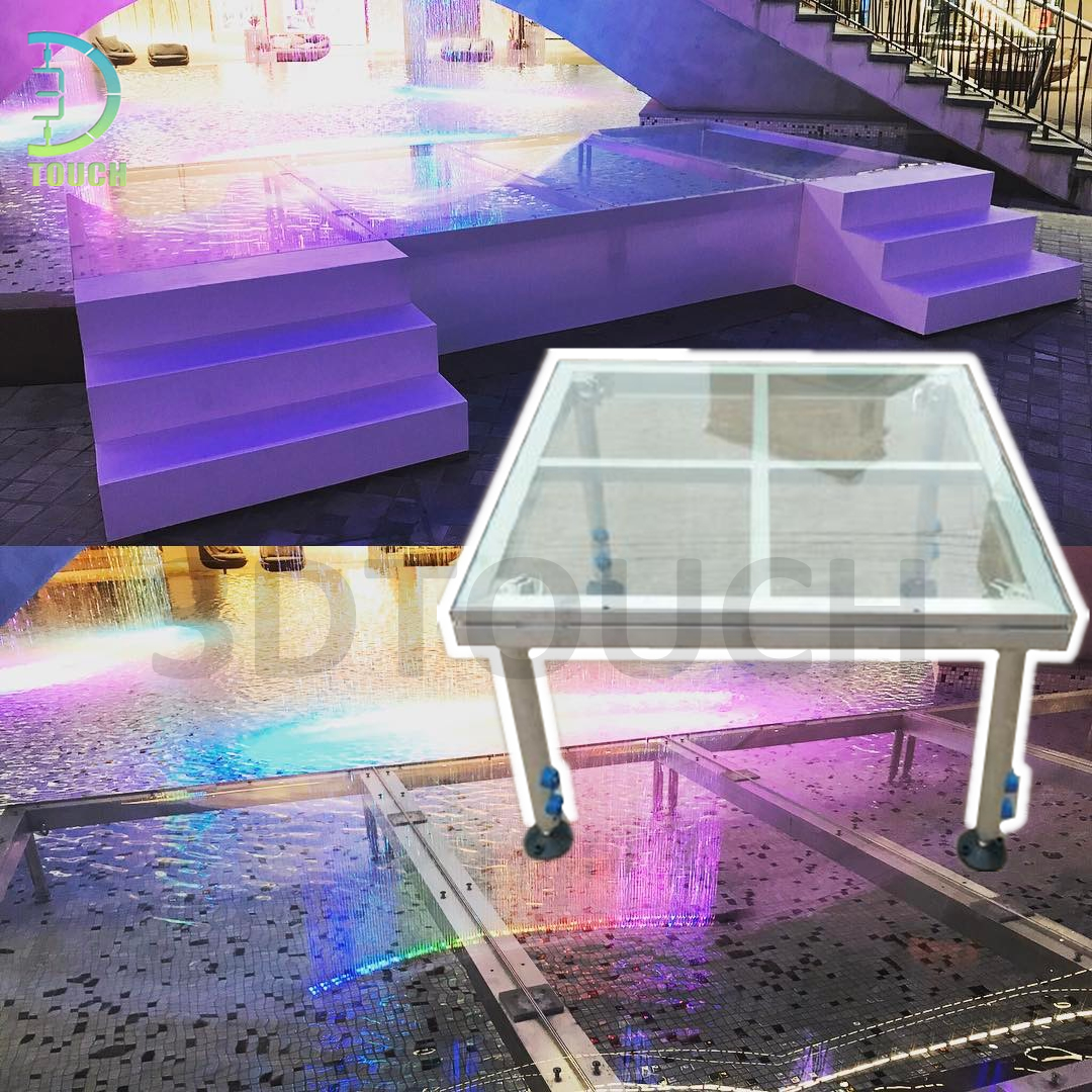 Aluminum 4 Legs <strong>Stage</strong> Waterproof And Non-Slip Height Adjustable Mobile <strong>Stage</strong> Glass Floor Use For Outdoor