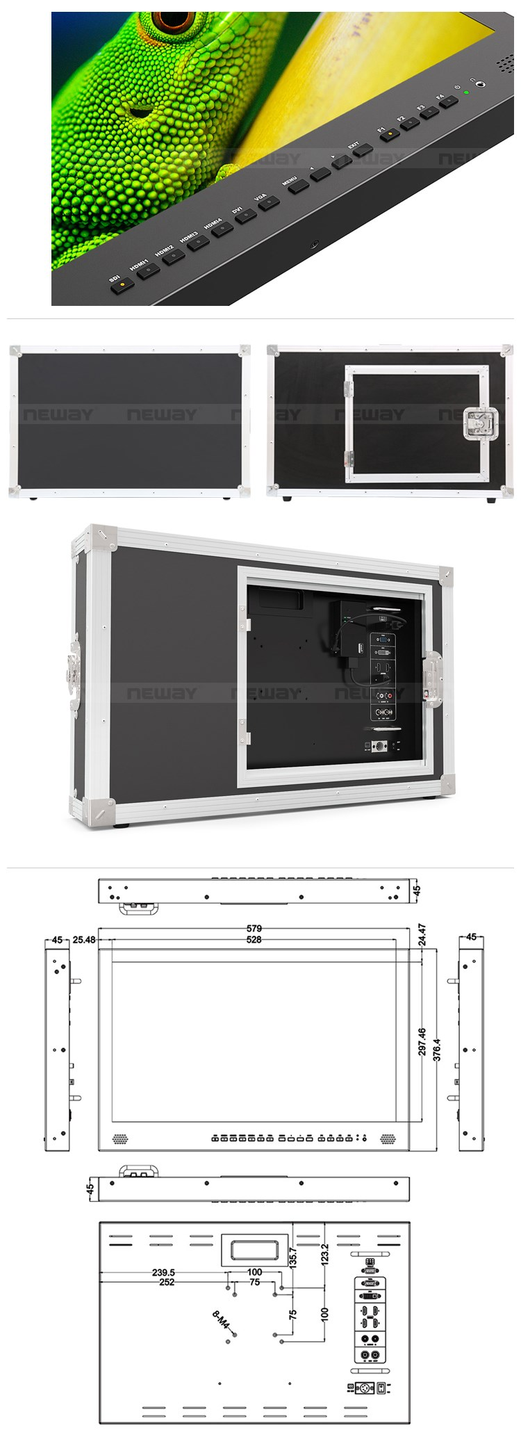 "23.8""Carry-on 4k broadcast monitor for Making Film equipment"
