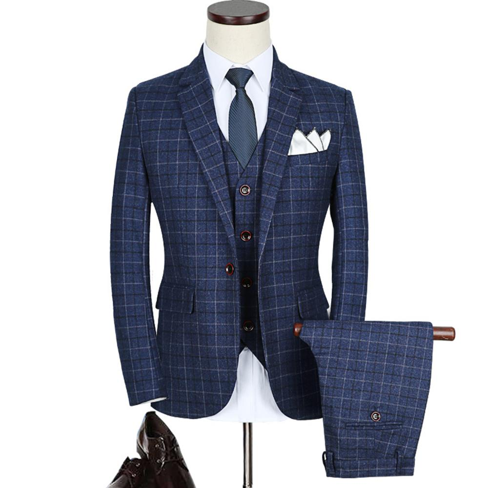 china wholesale pattern style plaid plus size three piece office <strong>formal</strong> <strong>suit</strong> for man