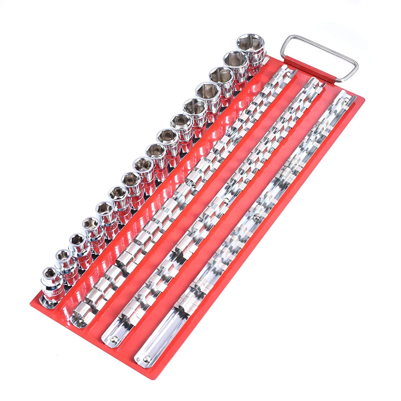 "Vanda6549 Socket Storage Rail Tool Organizer Storage 1pc Tray Rack Holder 80pcs Socket 1/4"" 3/8"" 1/2"""