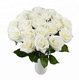 Manufacture of white rose silk artificial flowers