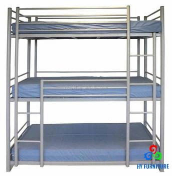 Economical School Dormitory Heavy Duty Steel Metal Triple Bunk Bed