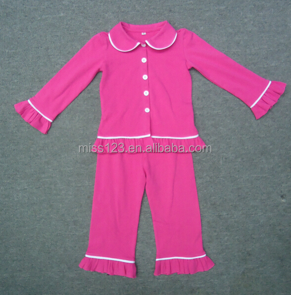 Autumn & Winter Design Unique Plain Pajamas Kids Cotton Knit ...