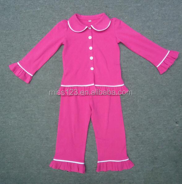 Autumn & Winter Design Unique Plain Pajamas Kids Cotton Knit ...