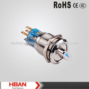 CE ROHS IP65 Selector rotary switch HBS1-AGQ-22X/3/D push on push off switch