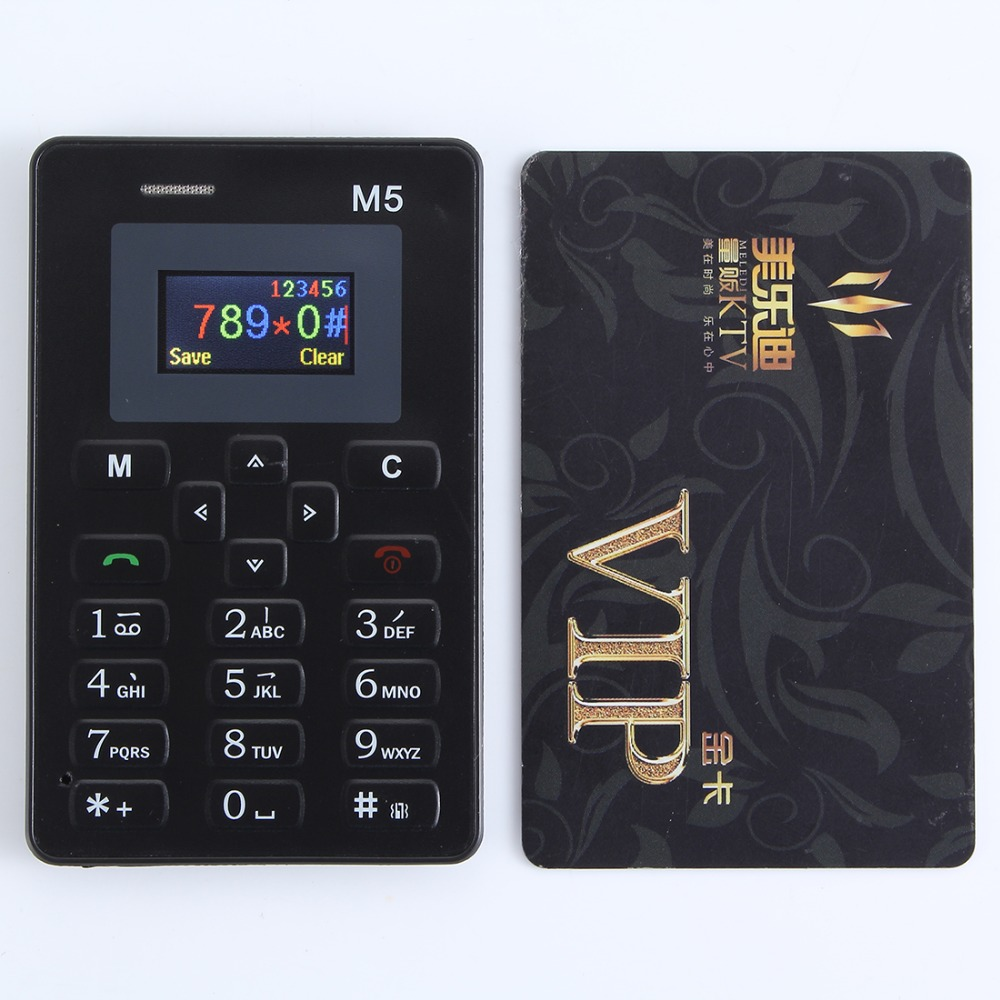 AEKU M5 Card Mobile Phone 4.5mm Ultra Thin Pocket Mini Phone Dual Band Low Radiation